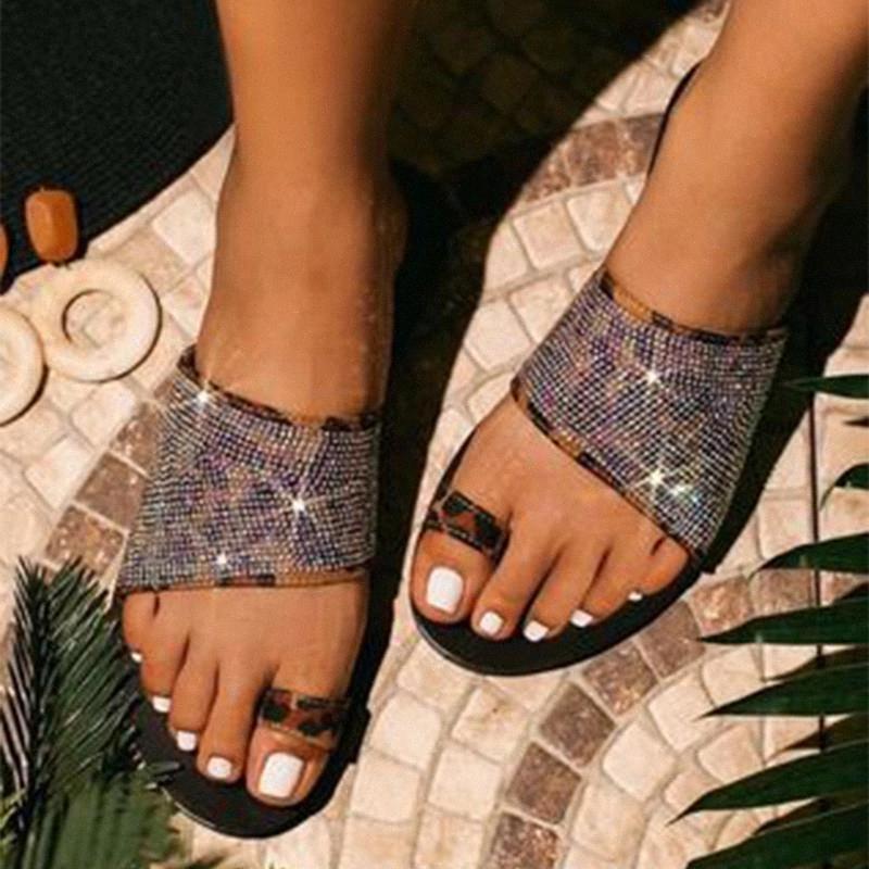 Mulheres chinelos mulher cristal bling verão praia slide flat flip flop mulheres senhoras casuais sapatos feminino confortobale calçado # 7i34