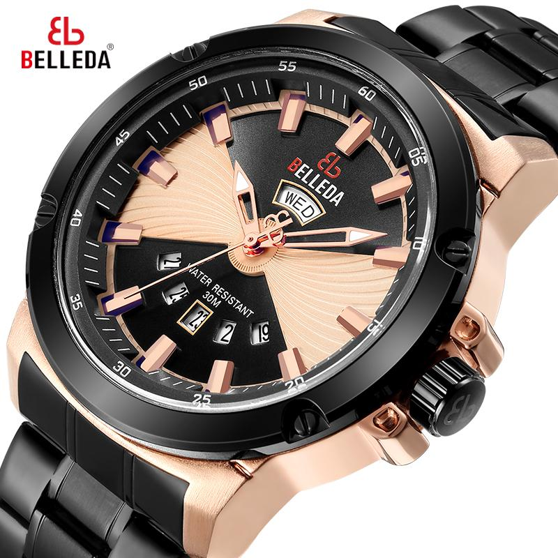 الصلب كوارتز ساعة اليد وانتاجية مزدوجة الشاشة الرجال أزياء العلامة التجارية الفاخرة روز الذهب