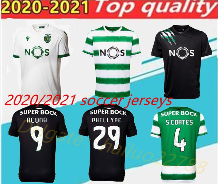 Yetişkin 20 21 Lizbon üçüncü Futbol forması 2020 2021 Lizbon ev PHELLYPE B.FERNANDES Acuna Maillot siyah beyaz çocuk Futbol Gömlek
