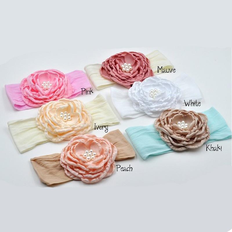 bébé couvre-chef fleur Turban Bandeau 6 couleurs doux stretch Nouveau-né en nylon headwraps Enfants Filles Accessoires cheveux