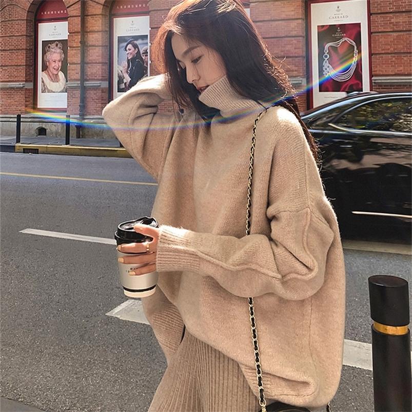 Turtleneck толстый зимний свитер женские пуловер девушки топы свободные осени женские вязаные верхние одежды свитера теплые негабаритные кашемировые 201221