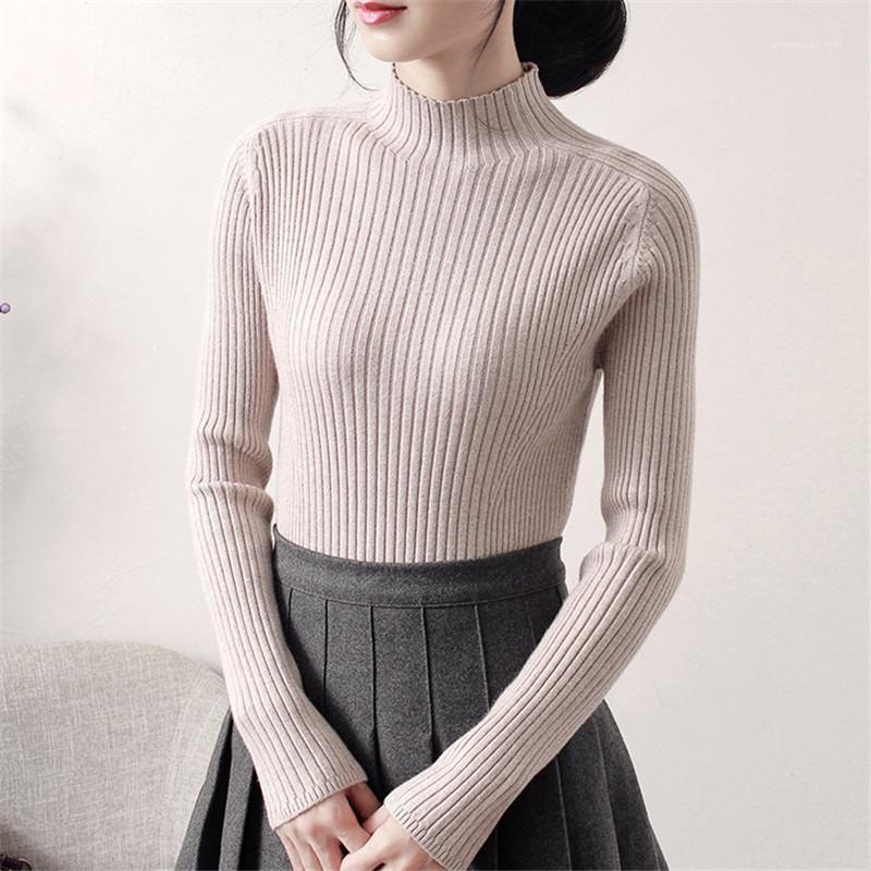 Женские свитера с высоким воротником Pullover свитер женщины 2021 осень зима тонкий вязаная рубашка с длинными рукавами дна топы XA2201