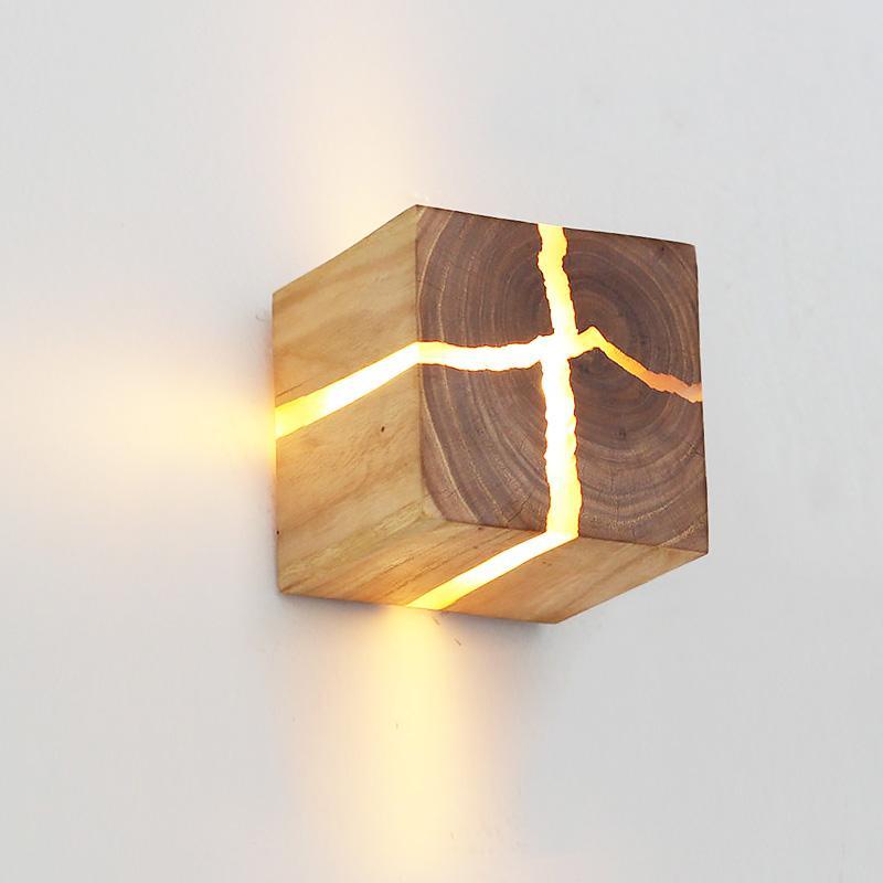 Yeni basit duvar lambası kişilik çatlak ahşap duvar ışık koridor sanat dekorasyon lamba başucu çalışma led aydınlatma modern yaratıcı led duvar aplikleri