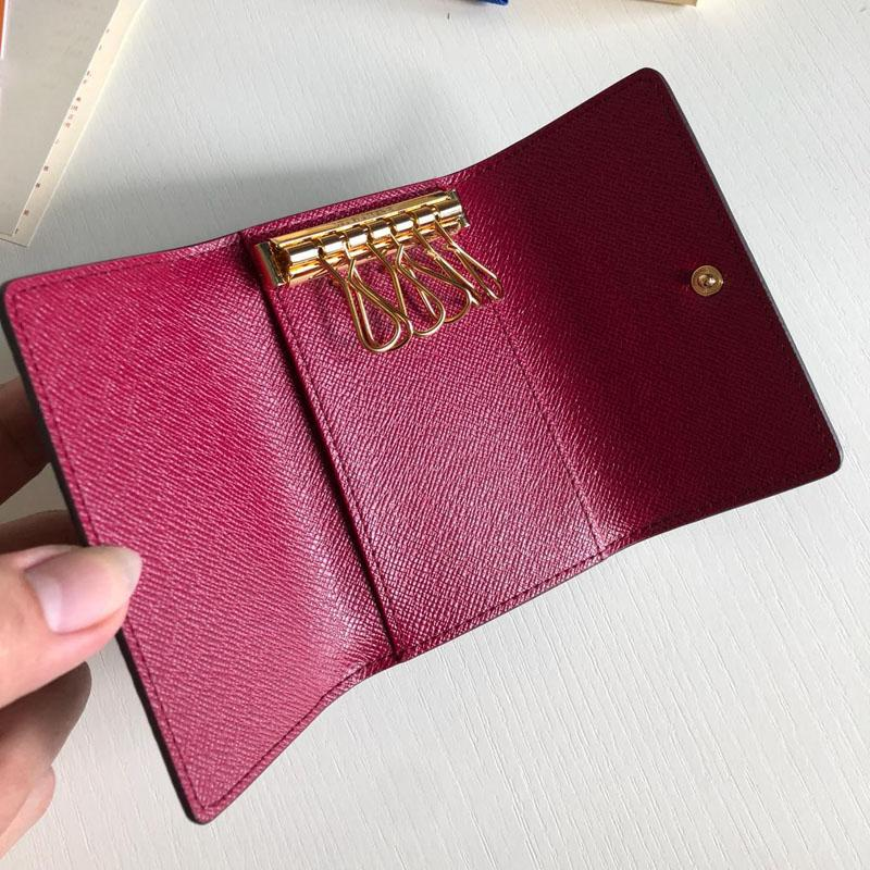 클래식 캔버스 키 상자 여섯 키 여자 잠금에 대한 여성 가죽 가방 지갑 여성 카드 소지자 가방 지갑
