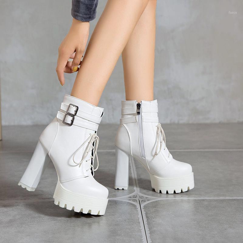 Boots Brand Fashion 11 см Толстый каблук Женская платформа Round Toe Короткие пинетки Высокое шнурок Пряжка Пряжка Размер лодыжки 32-43 Осень 1