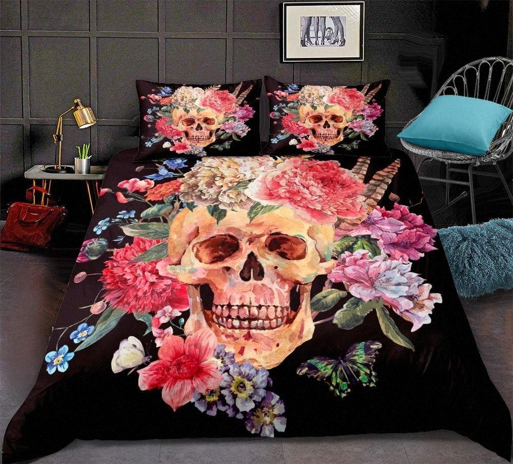 Colored Skull Pattern Duvet Cover Set Fantasy Quilt Cover Set 3D Skull Bedding Lifelike Bedclothes King Size Bedding Boy Bedding Princ eocQ#