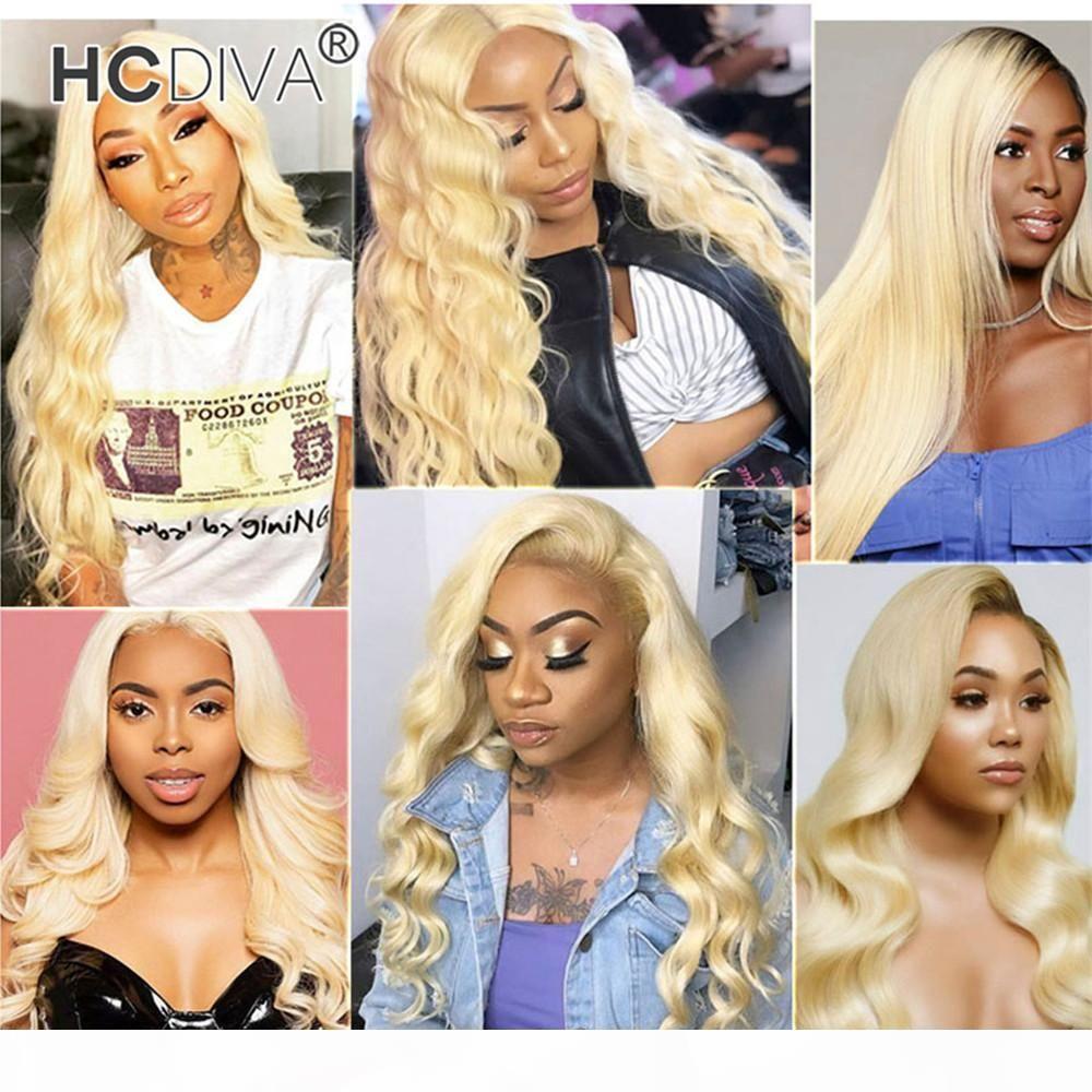 613 блондинки человеческие волосы парики 13 * 1 глубокая средняя часть кружева шнурка фронта бразильские девственницы прямой волна тела глубокий скручиваемость кипятка прямой 150% плотность