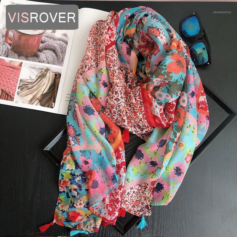 VISROVER 2020 Moda Verano Flor Roja Impresión Viscosa Bufanda Mujer Wrap Spring Shawls Playa Cuello Musulmán Hijab Gift1