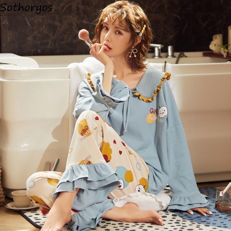 Pijama Setleri Kadınlar Kawaii Tatlı Öğrenciler Fırfır Sailor Yaka Pijama Rahat Prenses Stil Pamuk Pijama Rahat Yeni Chic