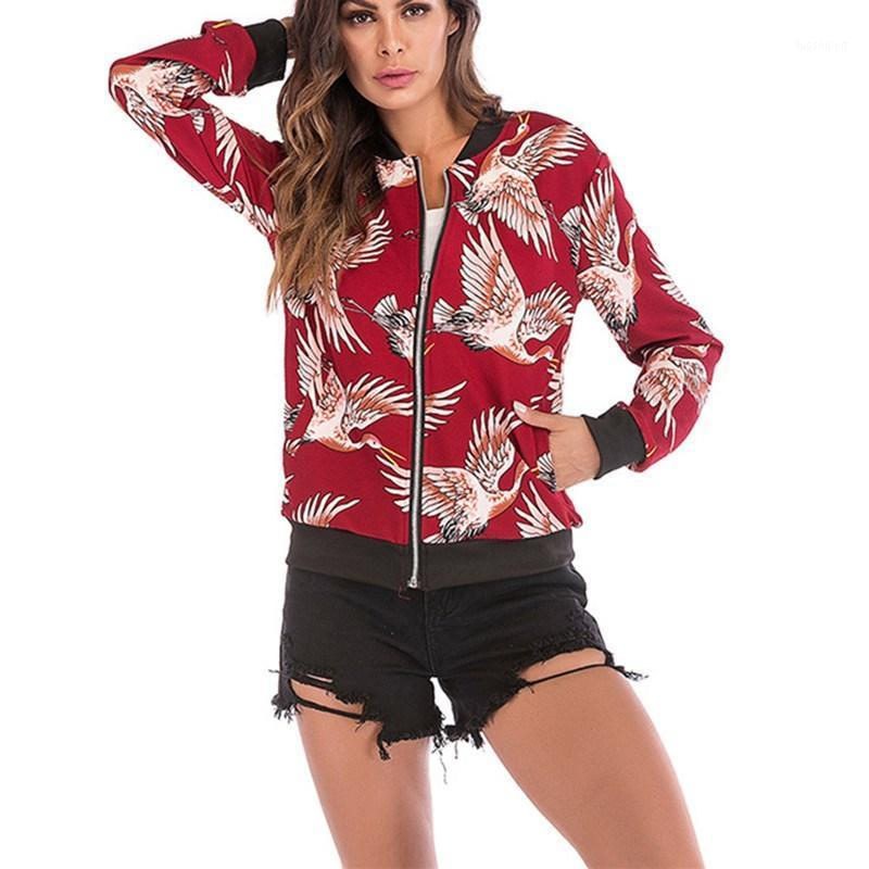 Женские куртки женские цветочные печать куртка V-образным вырезом мода повседневная бейсбол дизайн пальто на молнии на молнии