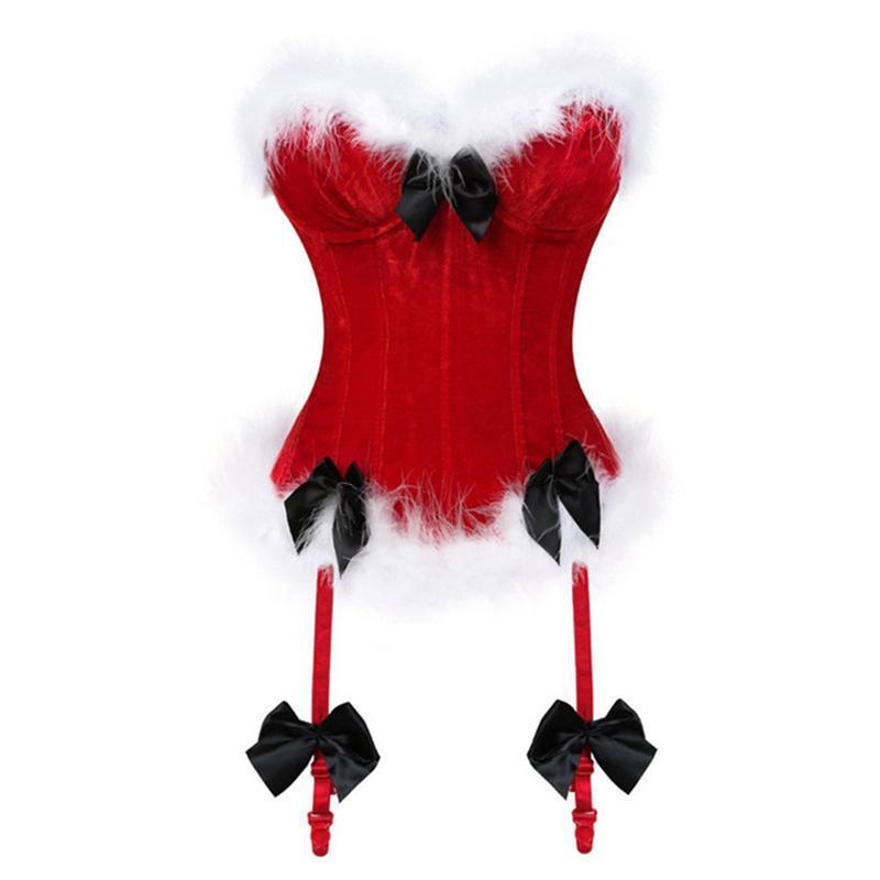 Bustiers & Corsets Christmas Corset Costume Women Miss Santa Bustier Top Red Corselet Overbust Halloween Cosplay KorseFor