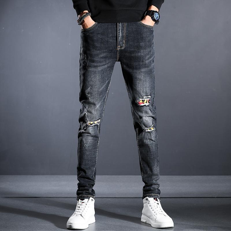 الرجال الجينز 11 أنماط الأزرق الأسود سليم صالح أزياء العلامة التجارية تمتد مستقيم ممزق الدينيم السراويل الذكور الأعمال عارضة التصحيح السراويل