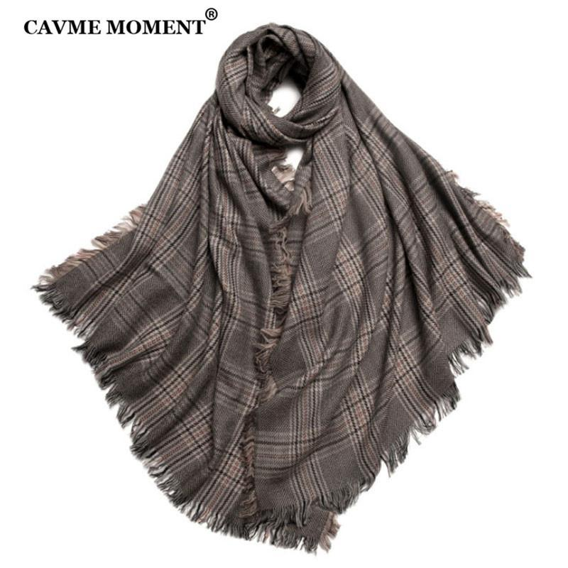 Cavme Plaid Wolle Schal Unisex Winter Warme Largue Größe Reine Wollschals Wrap Custom Name 90 * 200 cm