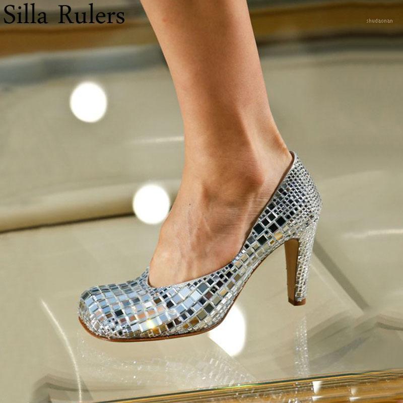 Elbise Ayakkabıları 2021 Pist Gümüş Bling Rhinestone Kadınlar Pompalar Kare Toe Yüksek Topuklu Kadın Hakiki Deri Sığ Gösterisi Mary Janes Woman1