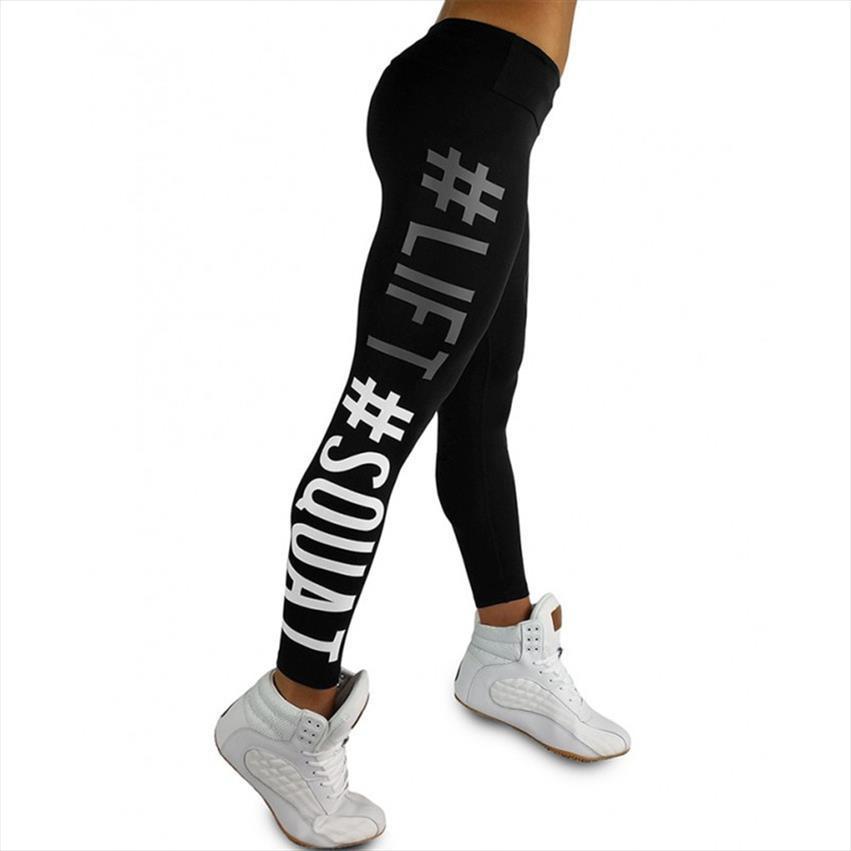 Chegada Nova Levante Squat letra da cópia cintura alta Mulheres Leggings Pants respirável fêmeas da aptidão Leggins Calças Casual Para Mulheres