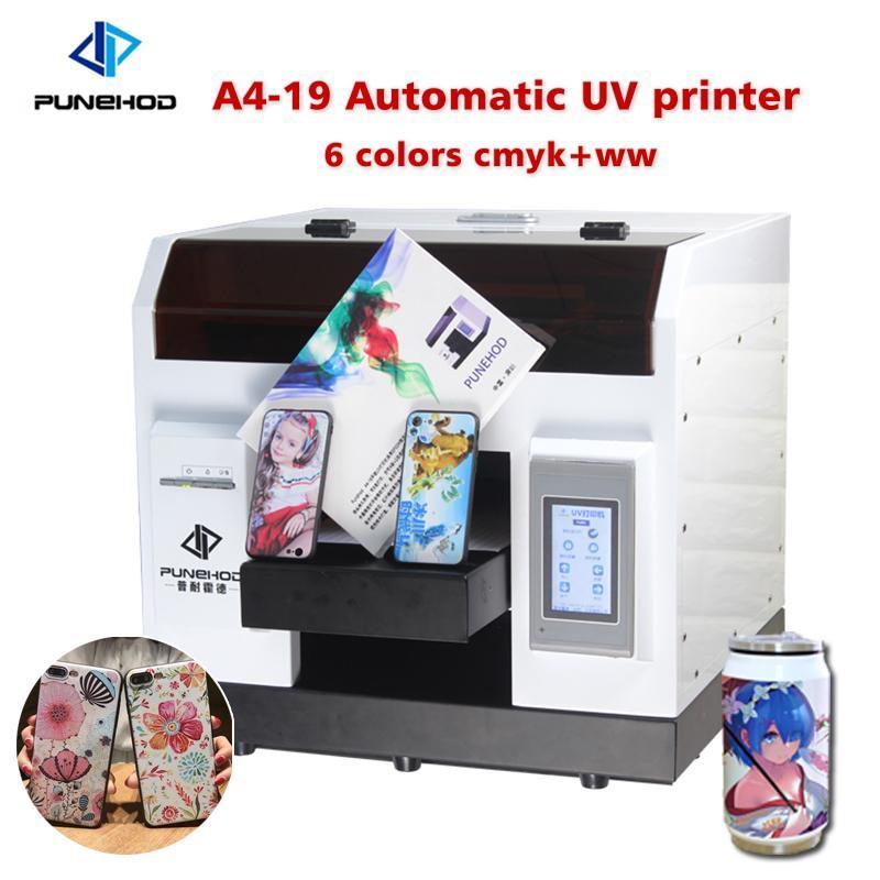 Punehod Wholesales Hot-sale A4 Size UV Flatbed Printer For Phone Case Golf bottle T-shirt printing L800 6 colors CMYK+WW