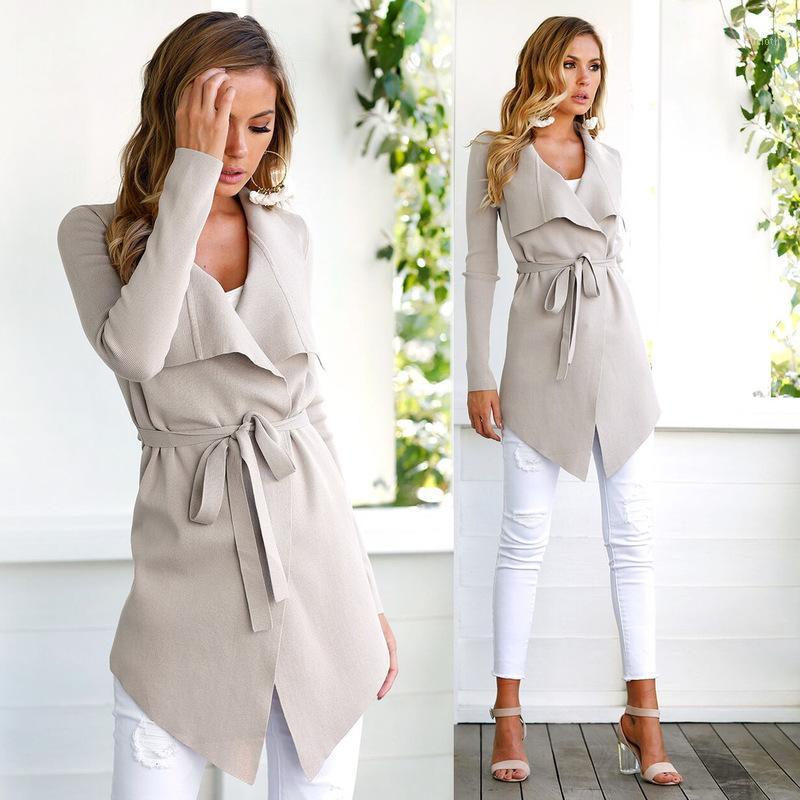 2020 Mulheres mistura de outono longo casaco colarinho colarinho lã casaco assimétrico cinto cardigan sólido outerwear escritório ocasional senhora jacket1