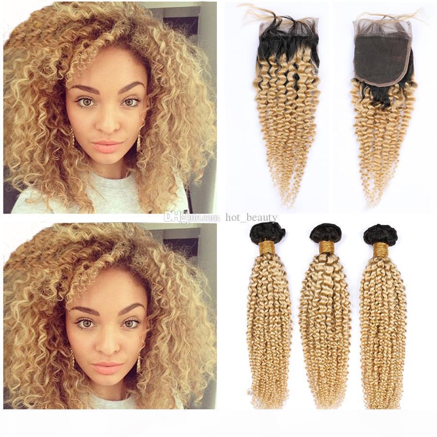 # 1B 613 Bundles de cheveux blonde avec fermeture en dentelle Vierge Brésilienne Kinky Curly Curly Humin Hair Bundles avec fermeture en dentelle 4x4 Blonde Ombre Cheveux