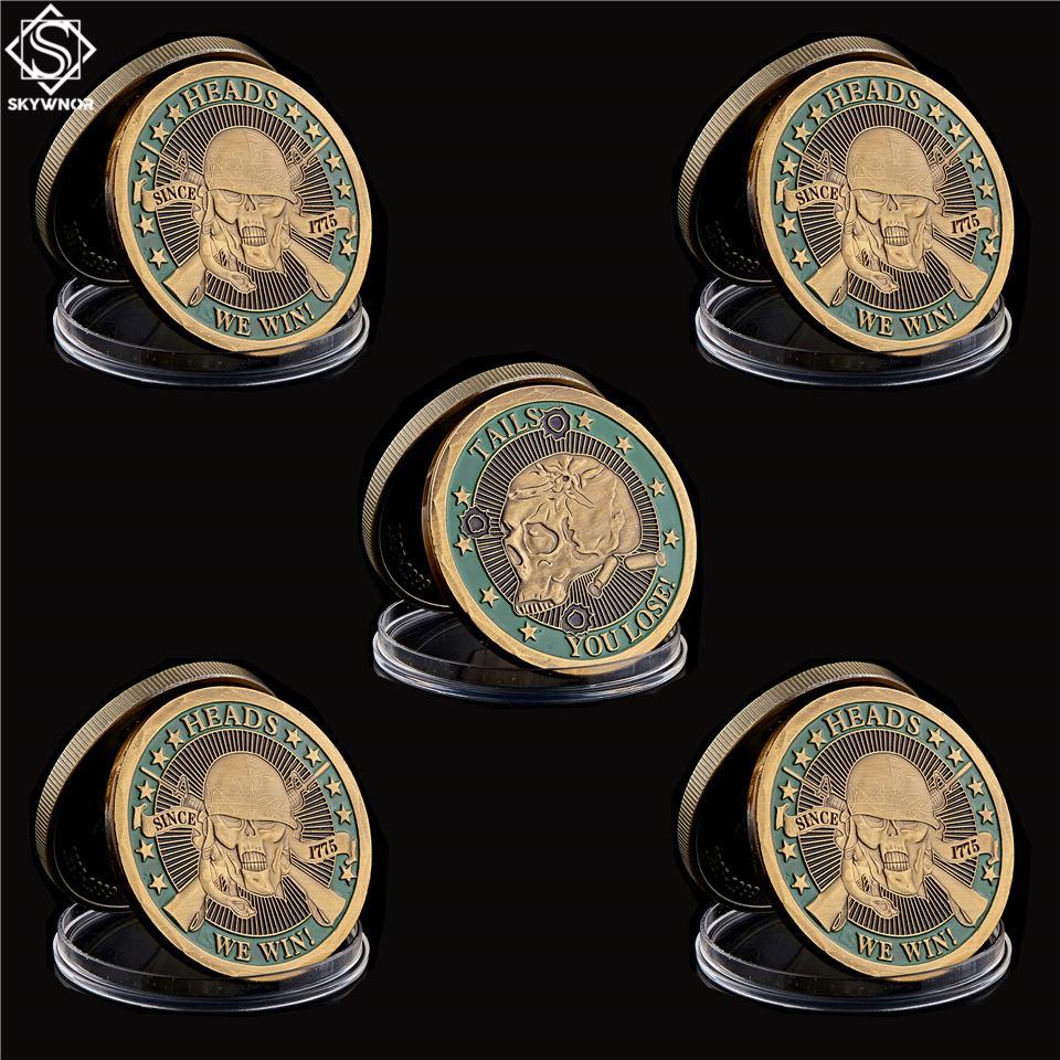 5pcs 1775 Tails You Lose capi vinciamo cranio dell'oro Soldato metallo placcato sfida della moneta da collezione Monete