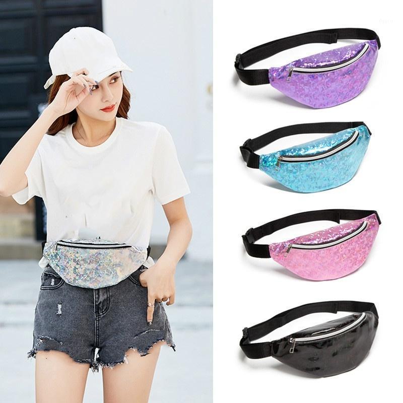Vidrio patrón de lentejuelas lentejuelas bolsas mujer hombro bolso bolso diseño viajar gran capacidad cintura paquete1