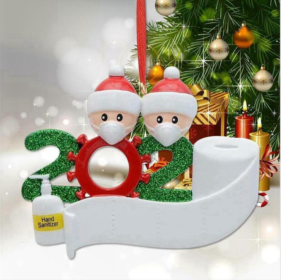 2020 Albero di Natale Resina Famiglia Di 1 2 3 4 5 6 7 Babbo Natale Ciondolo Ornamento sociale Distanza della decorazione del partito LJJP548 fai da te