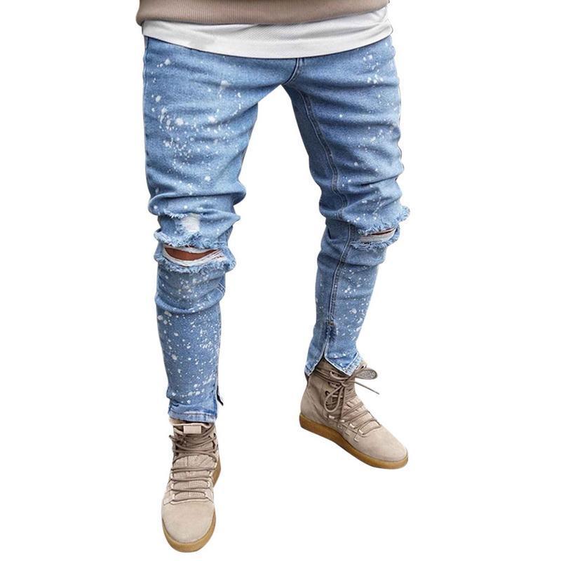 Moda Mens motociclista Demin jeans stretch destruídos rasgadas calças de vaqueiro impresso bolso Design de Moda Suave Skinny Jeans Buraco Masculino