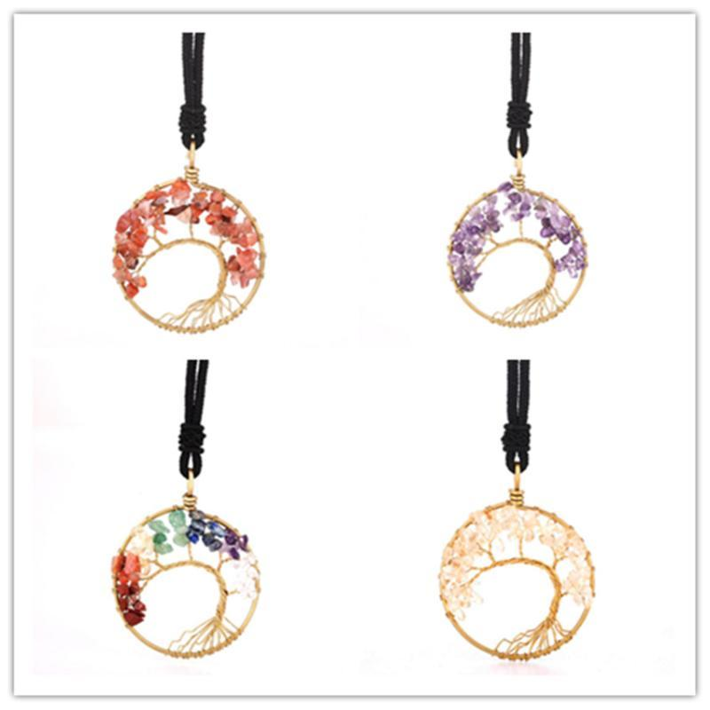 FYJS Unique Light Yellow Gold Color Wire Wrap Tree of Life Rainbow Stone Pendant Lapis Lazuli Necklace with Handmade Rope Chain