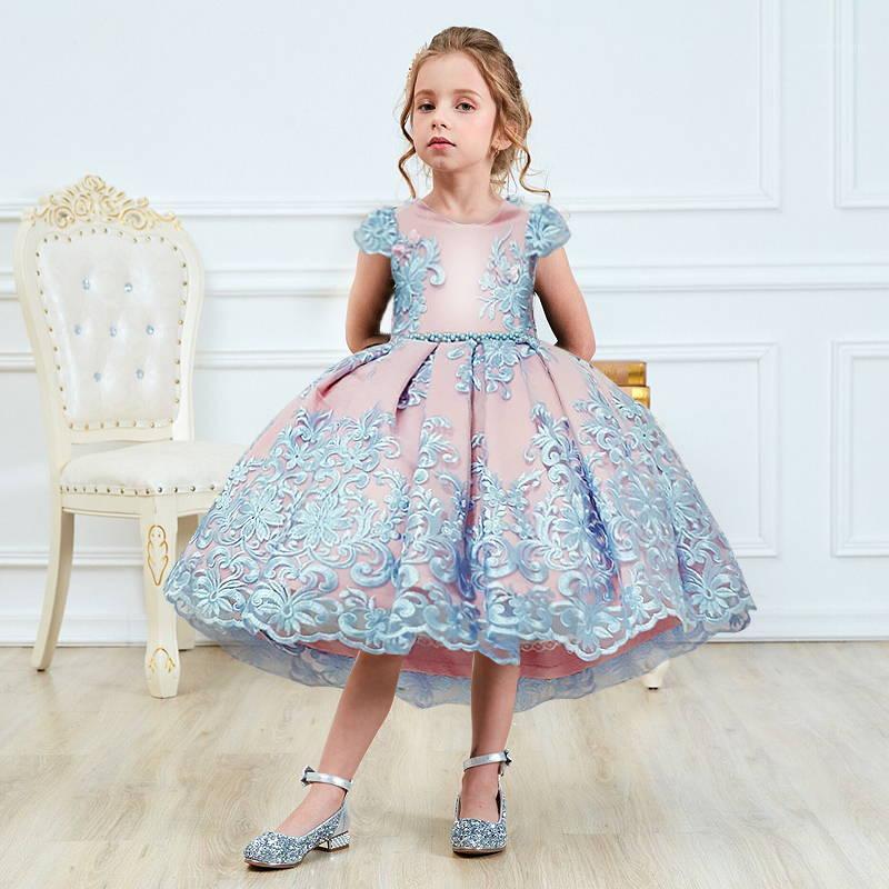 4-10 лет Элегантные Цветочные Девушки Платье Свадебное платье Рождество Рождество выпускное платье Новогодняя вечеринка Princess Princess Princips Fancy Детские платья для Girls1