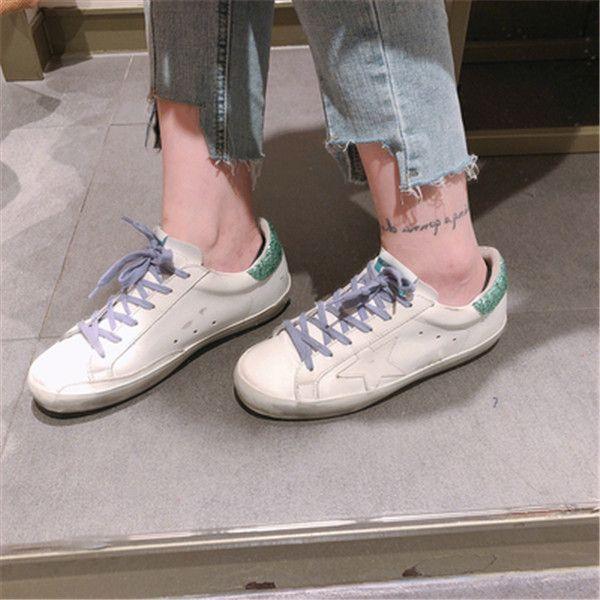 جديد الذهبي أحذية رياضية كلاسيكي أبيض المرأة إيطاليا ديلوكس ماركة الترتر الأحذية القذرة مصمم نجم الأحذية المسطحة عارضة مربع