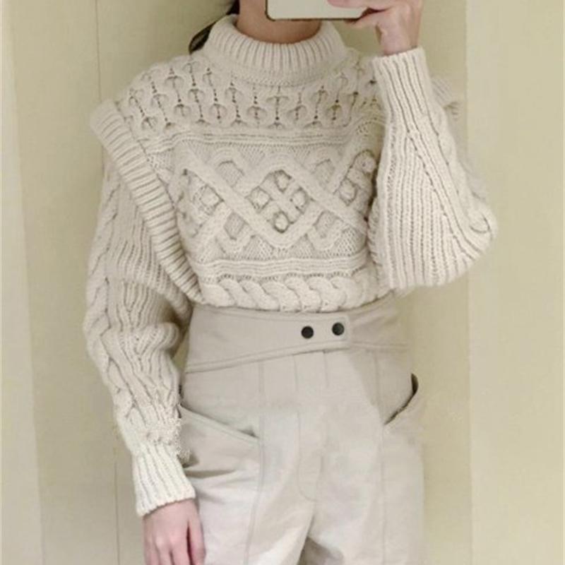 Suéter de punto de O-cuello torcedura falsificación dos de Lana del color de las mujeres otoño e invierno Nueva CuteKnitwear Jerseys 201008