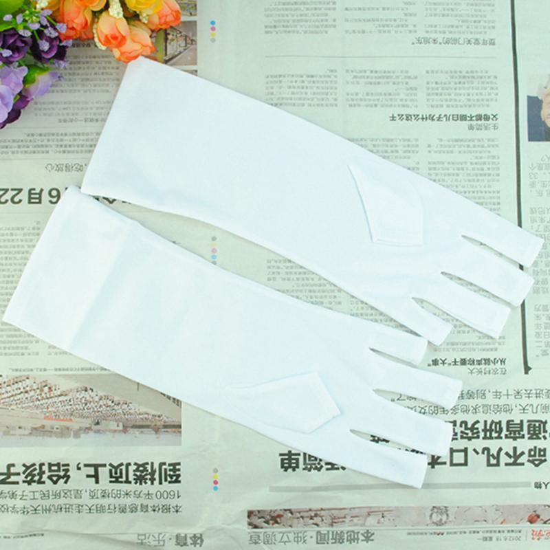 Herramienta manoplas del arte del clavo anti-ultravioleta Guantes abierto con Puntera de protección Blanca Consejos polaco luz UV lámpara de la radiación del clavo del gel