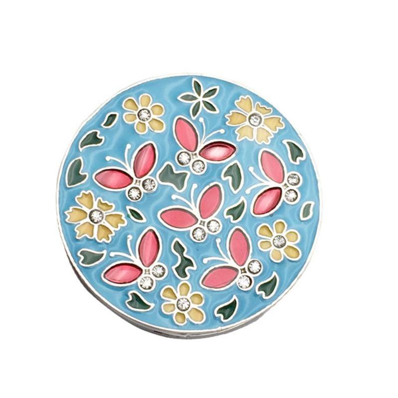 Dekorative runde blume legierung mini faltbare schmetterling rutsch halter nicht tragbare diamante zink handtasche reisen haken tisch montiert wvcrb