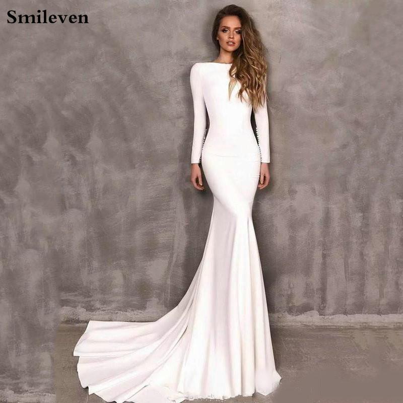 Smileven sirena vestidos de manga larga vestido de la novia vestidos de boda elegante de Boho satén 2020 Vestido de Noiva Q1110