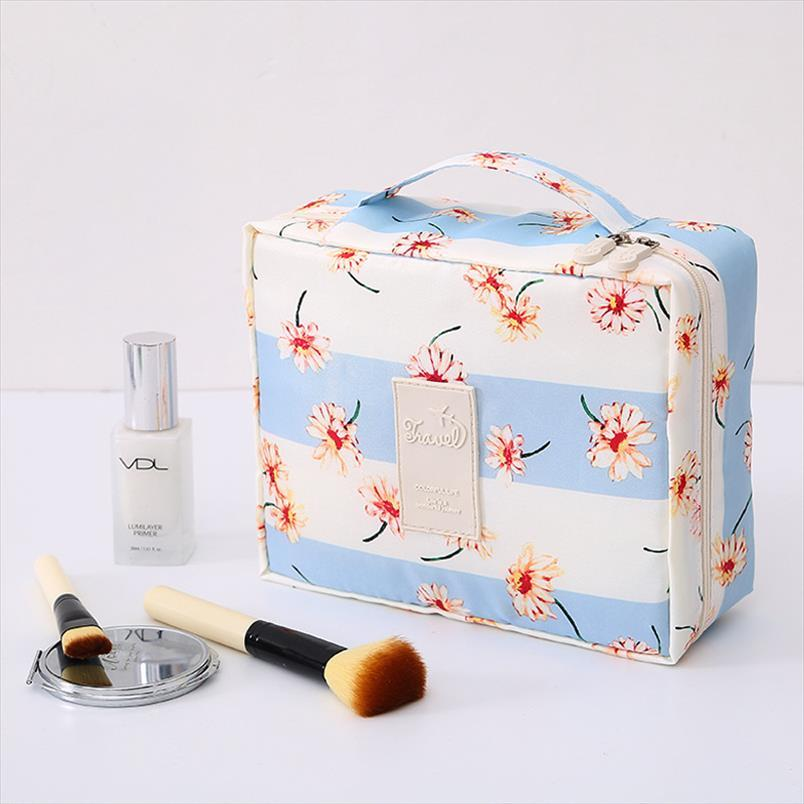 Almacenaje del recorrido señoras de bolso portátil de maquillaje de alta calidad de tela Oxford función del recorrido del bolso impermeable de múltiples maquillaje bolso de la colada