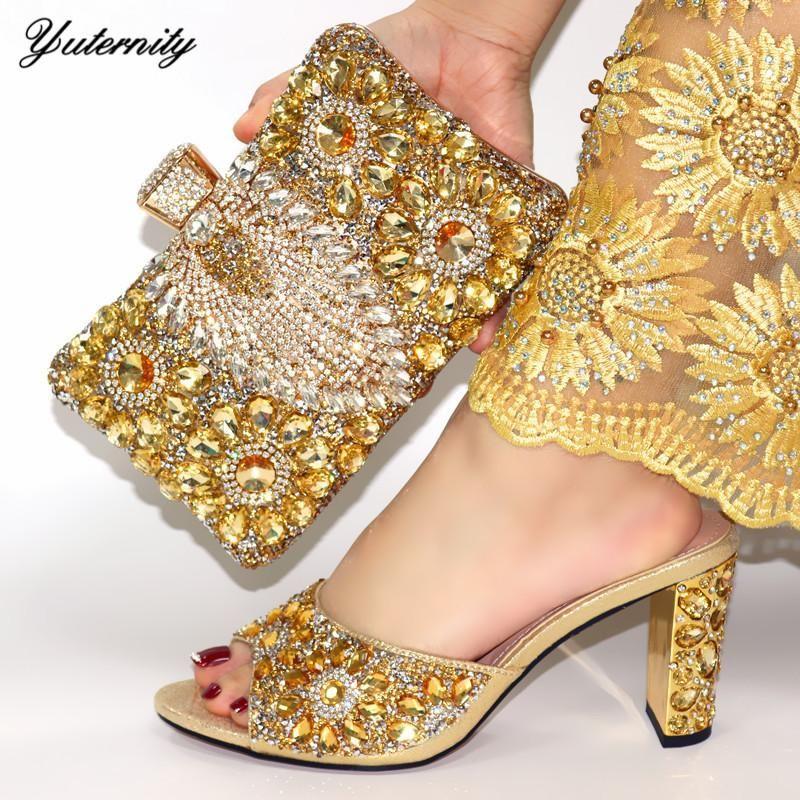 Платье обувь Нигерийская мода золотые цветные женщины и сумки набор африканских элегантных насосов сумка для свадьбы