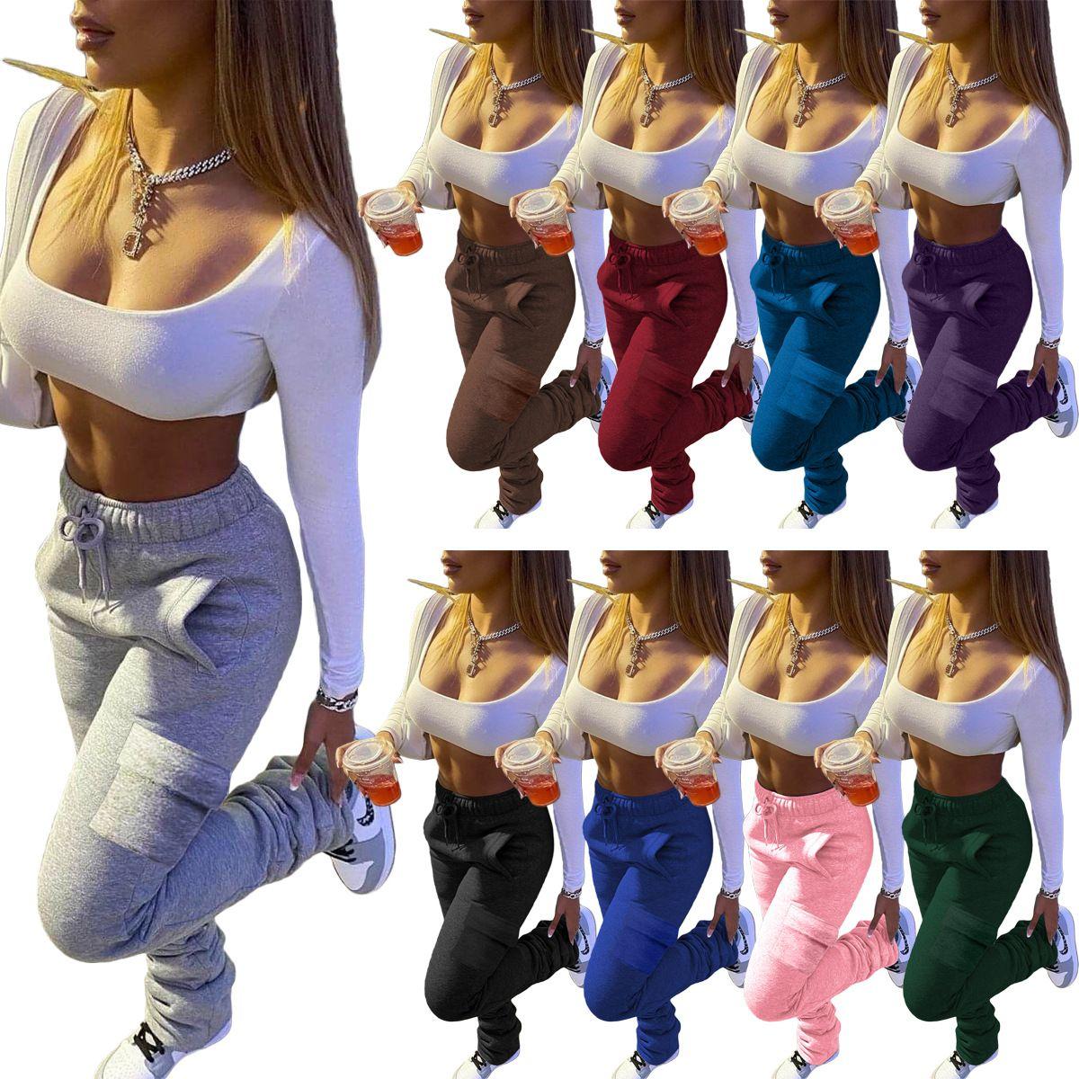 Pantaloni da donna in pile calda spessa spessa impilata pantaloni tutela all'ingrosso streetwear coulisse flare pantaloni tendenza joggers pantaloni sportivi femminili