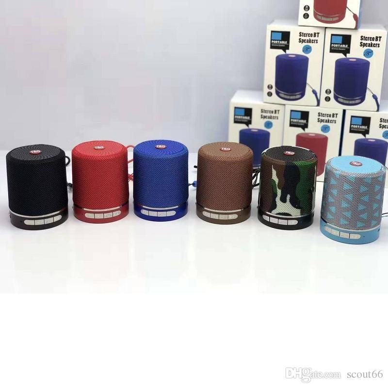 6 Renkler TG511 Bluetooth Hoparlör Kablosuz 5 V 500mA Subwoofer Mini Taşınabilir Hoparlörler Açık Soundbar Perakende Kutusu ile SF Kart Müzik Çalar