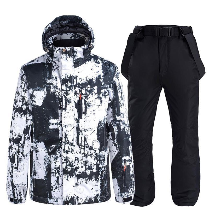 -30 Толстые Теплый Мужчины Женщины Лыжный костюм Водонепроницаемая куртка штаны ветрозащитный Лыжный спорт Набор женщин зима снег носить костюмы