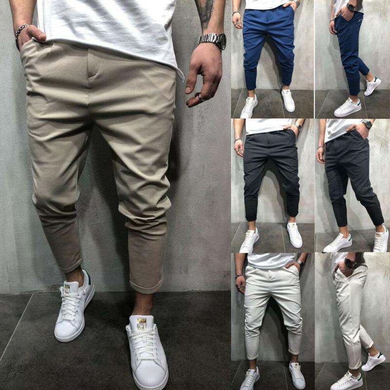 2020 uomini casual appuntamento ufficio matita dritto matita pantaloni lunghi pantaloni tempo libero 100% poliestere1