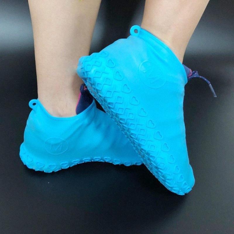 2pcs Hangable réutilisable latex Slip-résistant Couvre-chaussures en caoutchouc imperméables botte usure revêtement de pied S / M / L pour WUJS # mâle femelle
