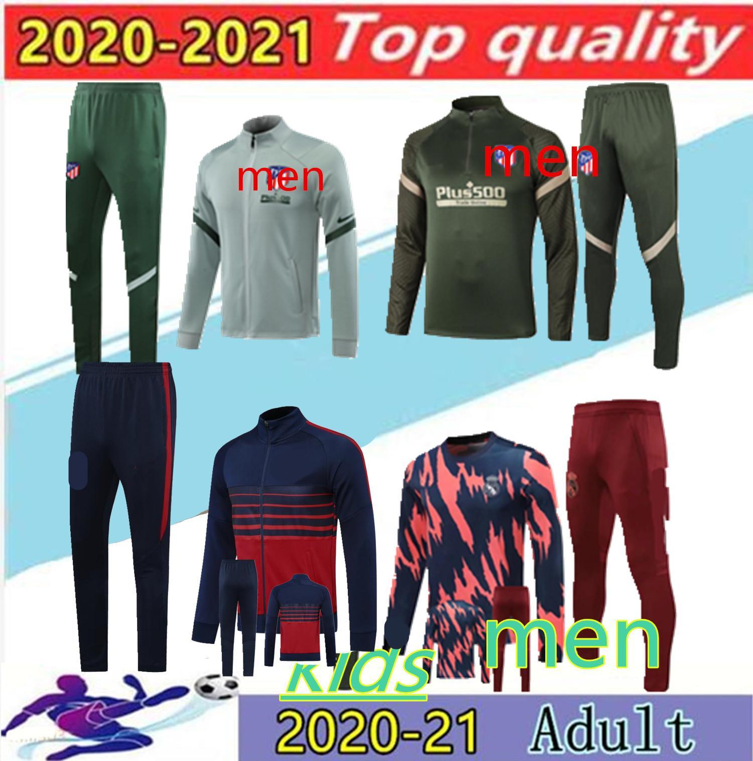 2020Adult +kids Atletico giacca della tuta da calcio 2/210 Atletico MadridCosta maillot de football cerniera lungo tuta tuta