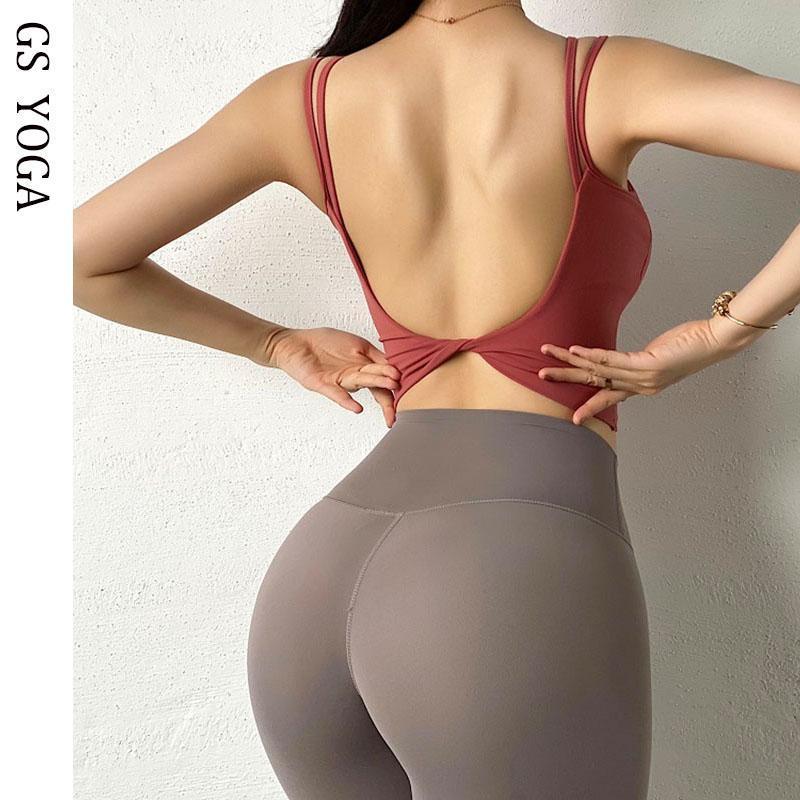 Sexy U Shape Sport Bra Breathable Fintess Bra Running Crop Top High Impact Yoga Gym Padded Super Sports Workout Tops