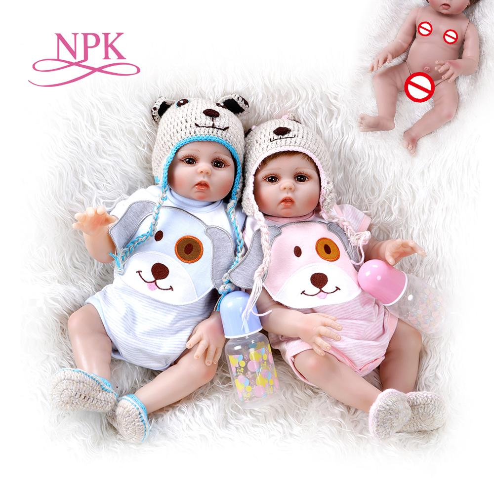 48CM bebe doll reborn toddler girl and boy doll sweet twins full body soft silicone realistic baby Bath toy waterproof 201021