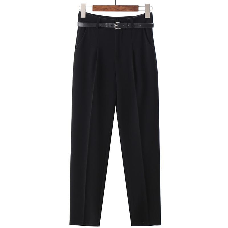 BGTEEVER OL Style White Women Pants Casual Sashes Pencil Pant High Waist Elegant Work Trousers Female Casual pantalon femme 200930