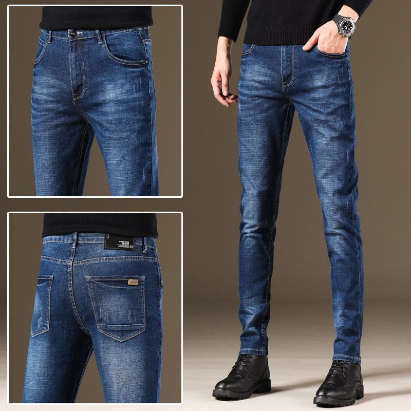 Erkek kot CN için erkekler ince elastik gündelik siyah gri pantolon erkek sonbahar / kış 2020 urgan kot (orijin)