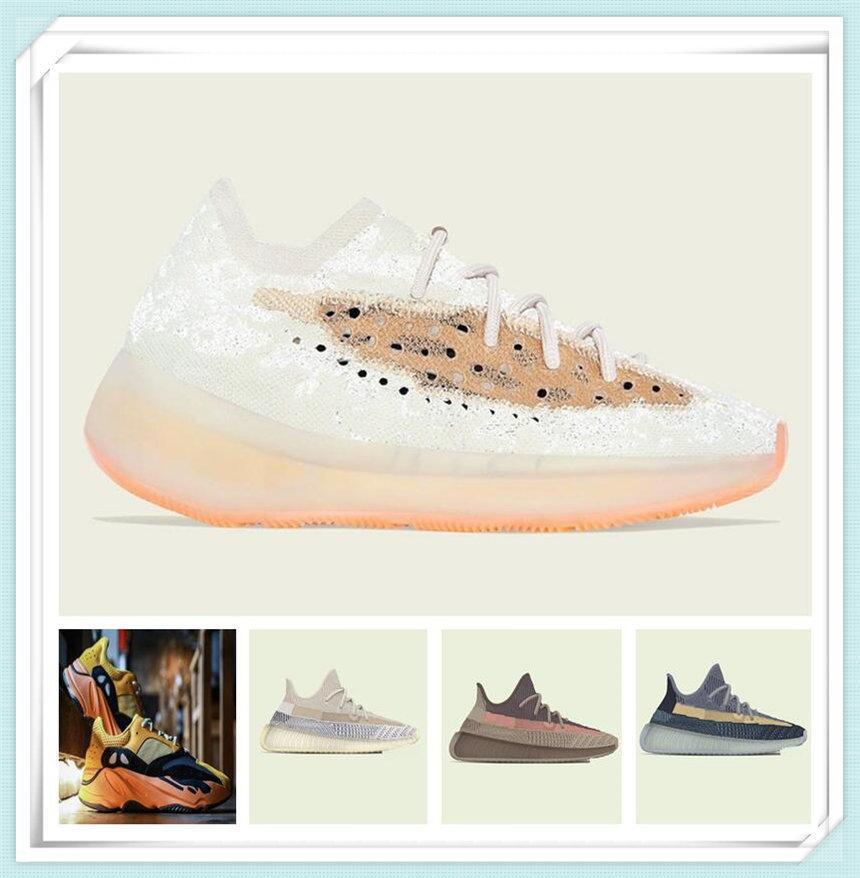 Мужская женская спортивная обувь 2021 Kanye West Sun Yecoraite Ash-каменный ясень-голубая глина светоотражающий случайные дешевые кроссовки открытый размер обуви 36-48
