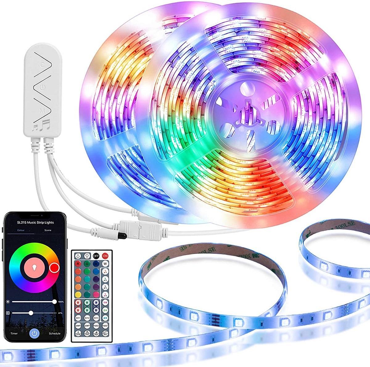 LED قطاع ضوء RGB 5050 مرنة الصمام الخفيفة قطاع 10 متر 15 متر 20 متر 12 فولت أدى الشريط + محول الطاقة + بلوتوث تحكم الموسيقى