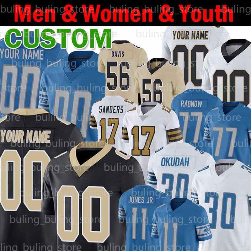 Personalizzato 30 Jeff Okudah Jerseys 19 Kenny Golladay 11 Marvin Jones JR 77 Frank Ragnow 56 Demario Davis Emmanuel Sanders Deonte Harris Football