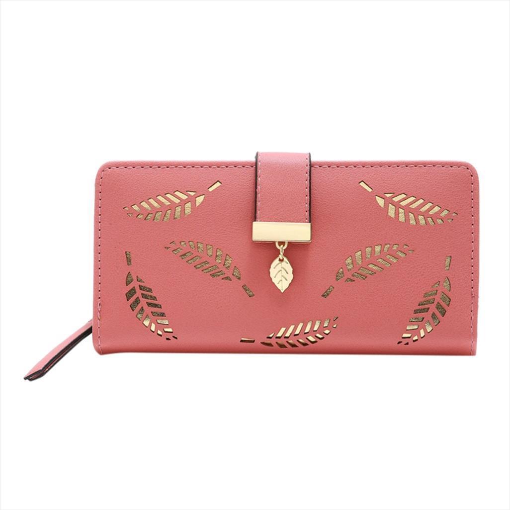 Pour main sac à main, cuir femme, femme, féminin, portefeuille, pièce porte-monnaie, pochette creuse, portefeuille, portefeuille, feuilles, feuilles Puche PU PUL 14 HVHWQ