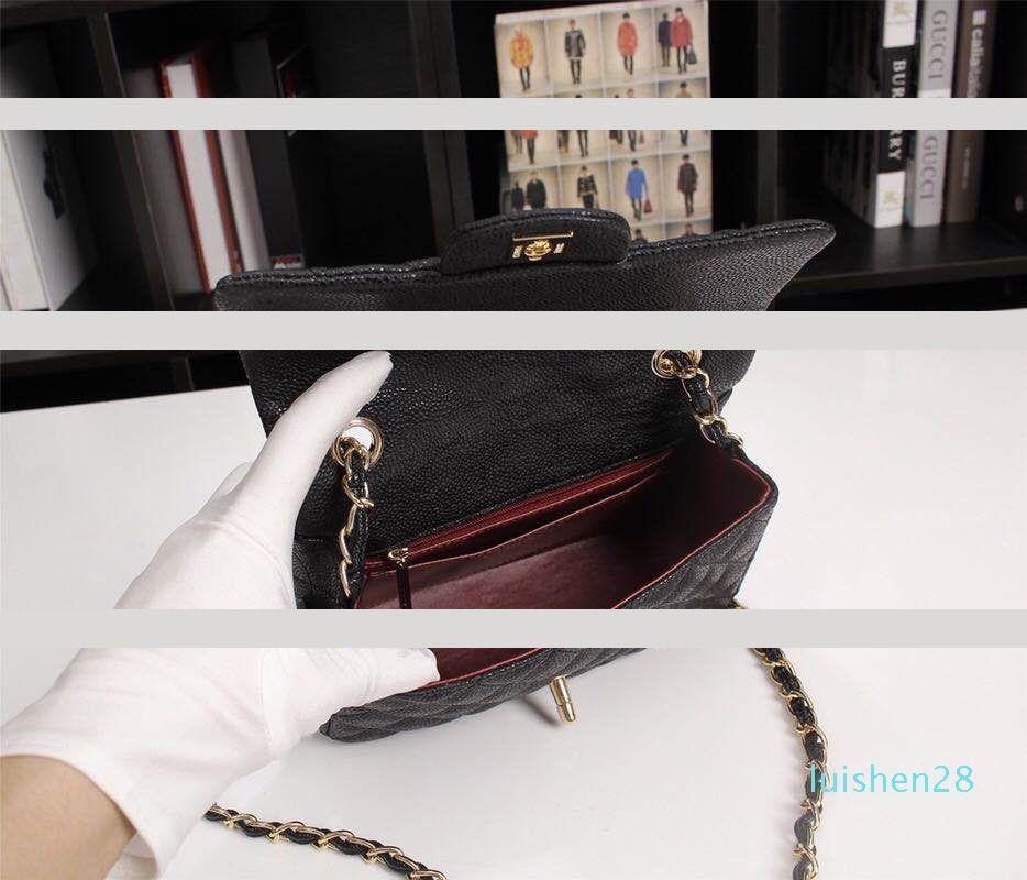 Hot selling1116 Moda Couro Bolsa de Ombro seis cores Diamante Malha acolchoado Flap Bag 20 centímetros Caviar couro Cadeia Handbagl28
